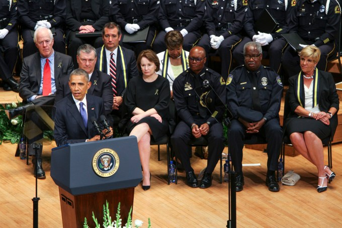 """President Obama addresses the nation and describes the shooting in Dallas as an event that """"has left us wounded and angry and hurt."""""""