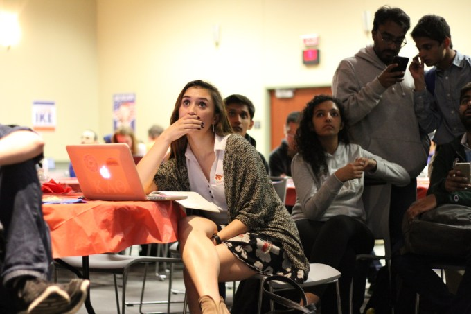Accounting junior Ashley Levy reacts to election updates streaming from CNN, MSNBC and Fox News at the election watch party.