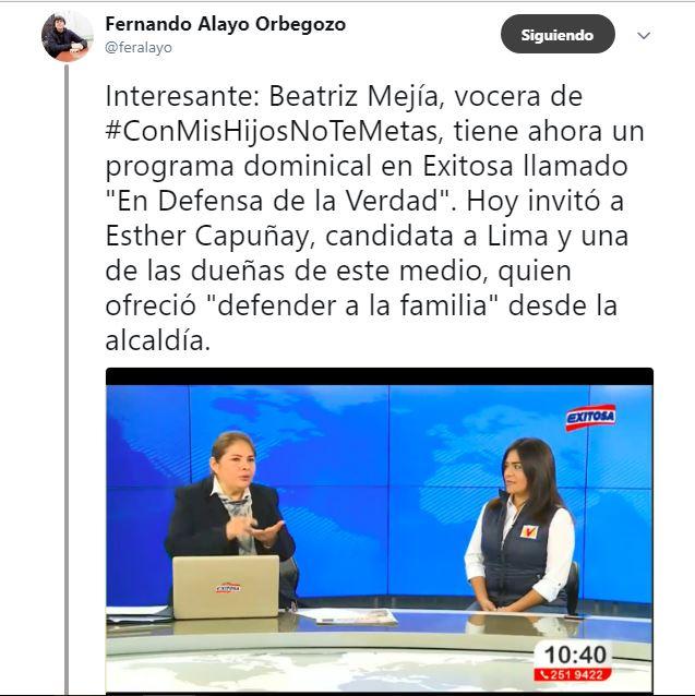 Pueden ver el tuit original del periodista Fernando Alayo en este enlace. Imagen: captura