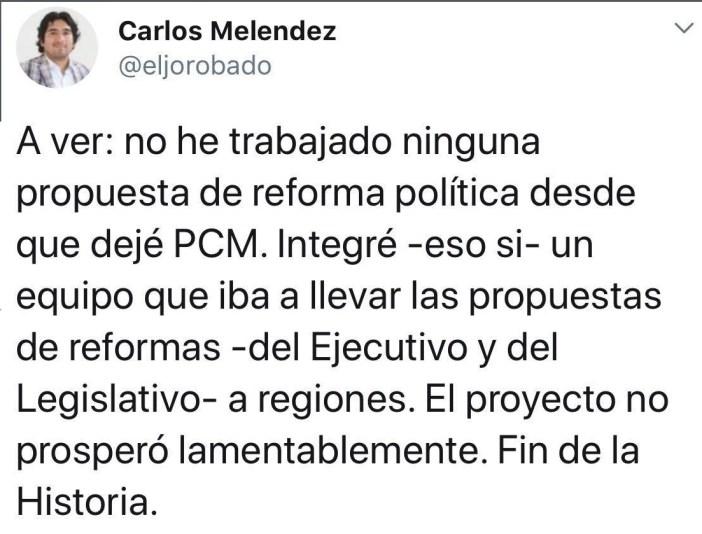 Esta es la respuesta de Meléndez a la nota de Caretas. Imagen: captura Twitter