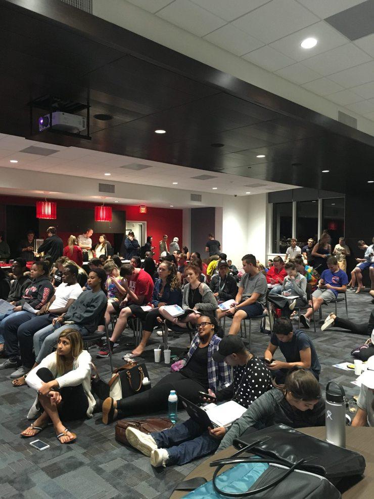 Students watching the debates.