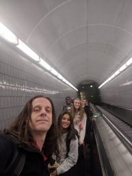 The five of us headed down into the Subway in Atlanta.