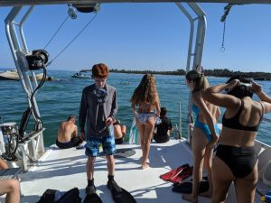 Honors students getting ready to snorkel at Egmont Key