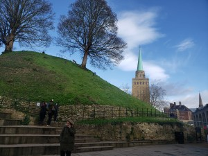 This the castle mound at Oxford Castle, facing a large college church spire. On the days when it isn't raining, you can see hundreds of locals walking through the streets and soaking up sun and the crisp air.