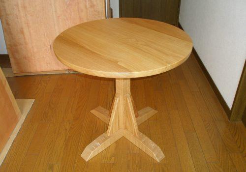 無垢 丸テーブル 1本脚