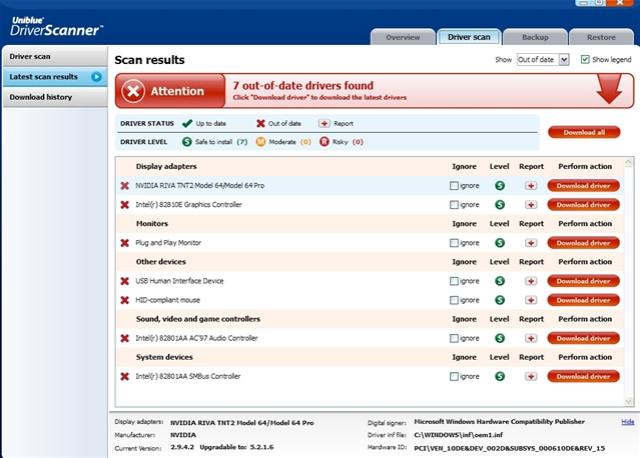 Uniblue DriverScanner Free Download