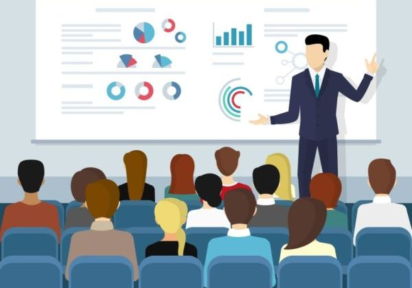 Illustration of a Utility Events speaker leading a discussion on energy and power with other professionals