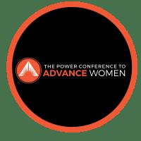 power conference advance women logo black orange and white