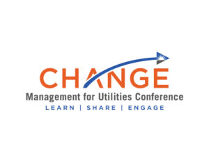 Change Management for Utilities Logo. Learn, Share, Engage. Word Change is orange with a blue arc ending in an arrow with sunset embedded.