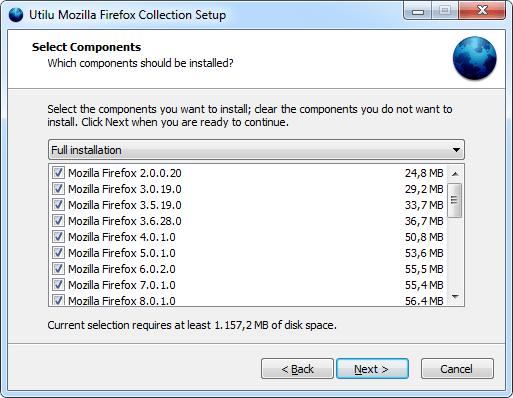 Utilu Mozilla Firefox Collection Setup: Select Components