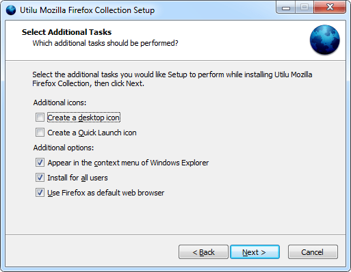 Utilu Mozilla Firefox Collection Setup: Select Tasks