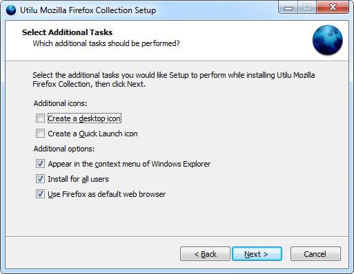 Utilu Mozilla Firefox Collection Setup: Select Tasks