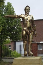 1927's Metropolis by Fritz Lang was the first feature length science fiction film in history.[11] It was produced at Studio Babelsberg, Germany. (Photo shows the statue of the film figure Maria at Filmpark Babelsberg)