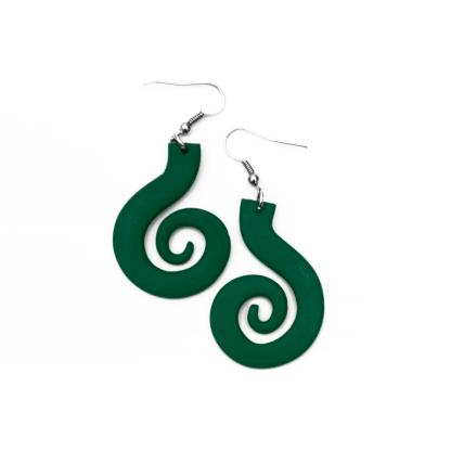Pendientes Espiral grande verde