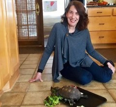 Jeanna Smith with her pet George the Gopher Tortoise
