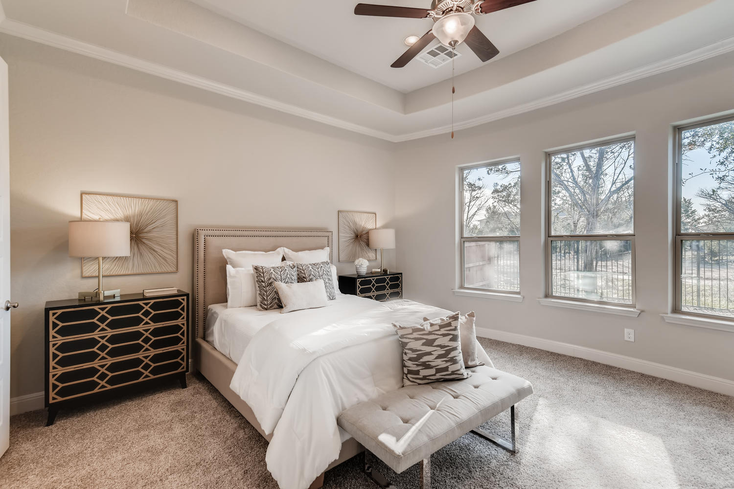 Full home staging in Las Vegas, Nevada, featuring a staged master bedroom