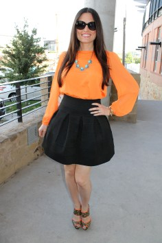 """Style Beacon"" blogger Michelle Zuzek wore a ""Pleasure Doing Business"" skirt on Wednesday night."