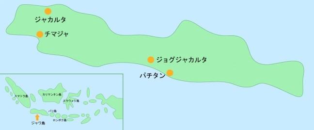 ジャワ島の地図
