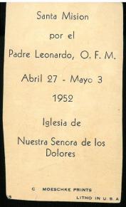 Prayer card laid in, verso. Nueva novena dedicada al milagrosisimo Niño de Ntra. Sra. de Atocha... (190-?).