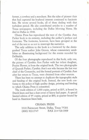 Publisher's Addendum laid in. Cynthia Ann Parker : the Story of Her Capture at the Massacre of the Inmates of Parker's Fort (1991) by James T. DeShields