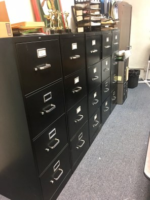 File cabinets that we sorted through