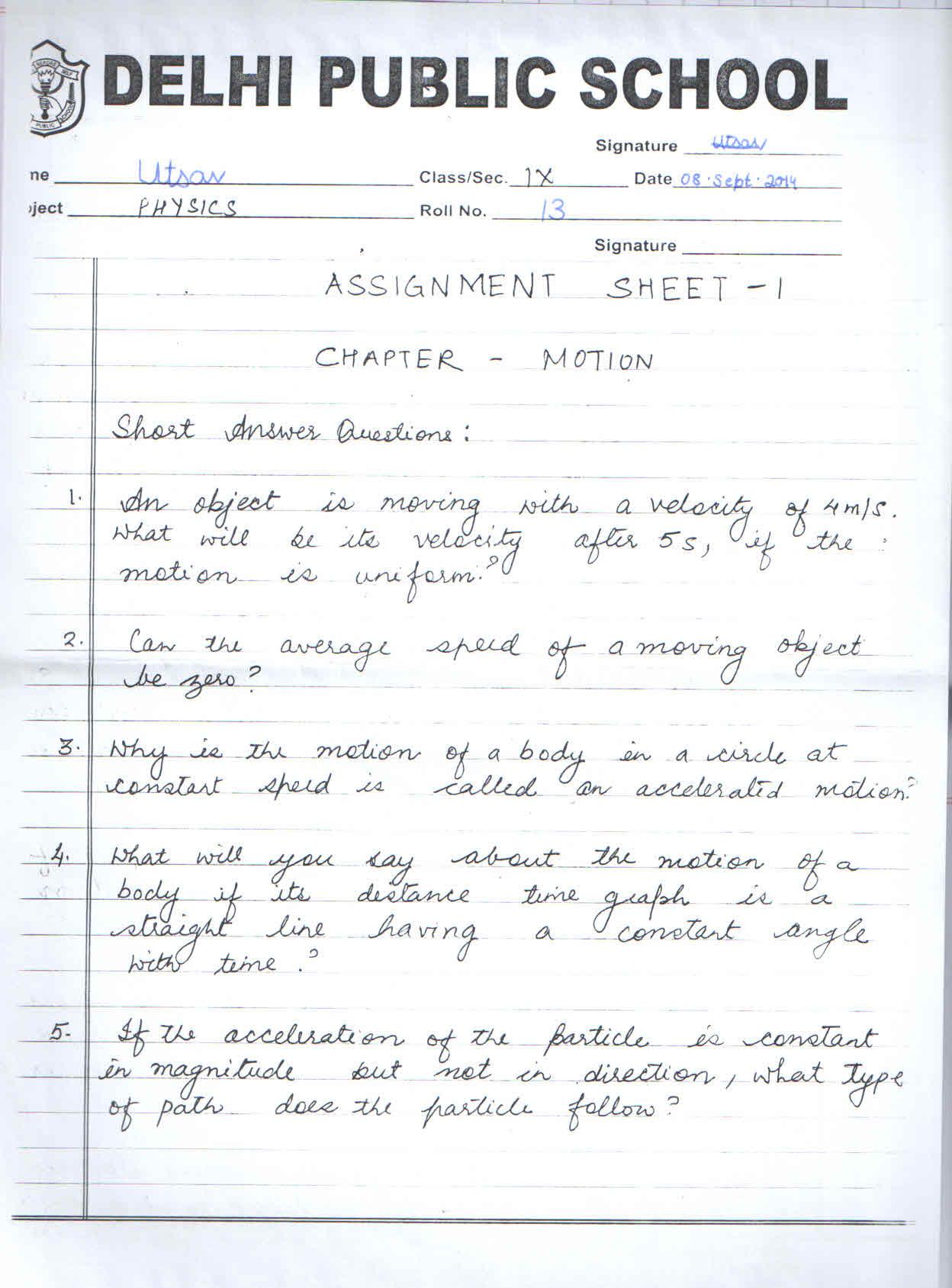 Physics Sa1 Worksheets