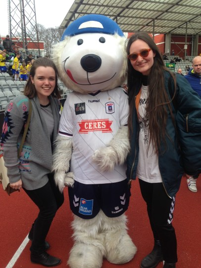 Supporting AGF, Aarhus' football team, this is Aros the mascot :)