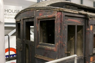 A burnt out car from the 1904, it used to serve on the Metropolitan Line.
