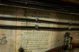 Several of these notices are pasted to the walls, alerting passengers to the imminent closure of these stretches of passage.