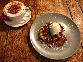 A well earned waffle at the Queen Victoria.