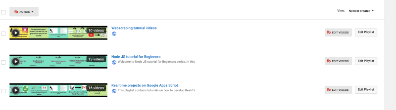youtube playlist page
