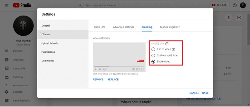 youtube branding entire video