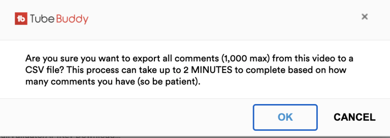 export youtube comments pop up