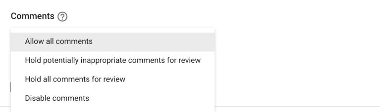 youtube upload default comments