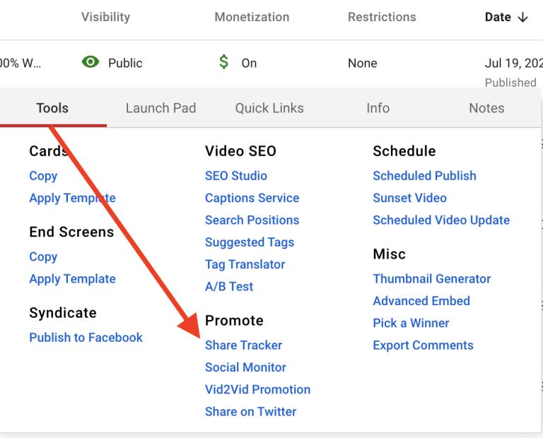 social media share tracker on youtube