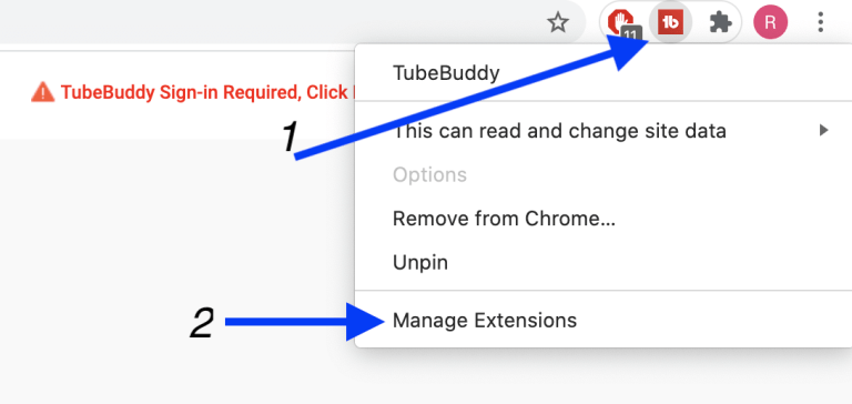 tubebuddy manage extension