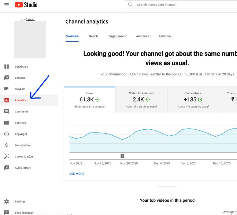 youtube dashboard analytics