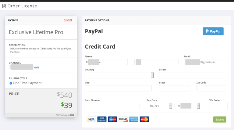 tubebuddy pro lifetime deal order page