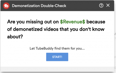 demonetization check on youtube tubebuddy