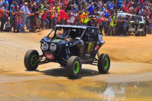 Marc Burnett competed and led a portion of the UTV class in this radical Monster Energy Can-Am Maverick.
