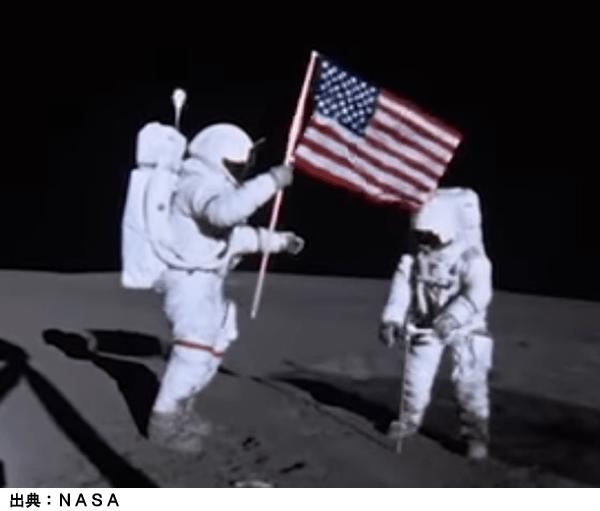アポロ計画での月面の星条旗