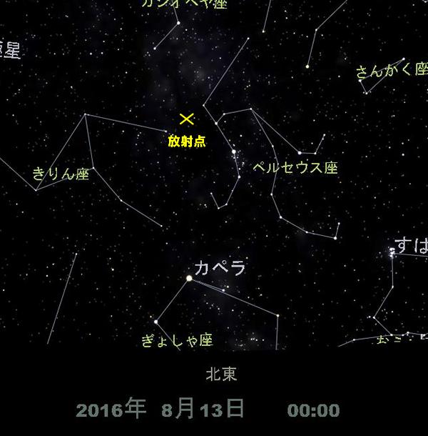 ペルセウス座流星群の放射点
