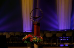 chalice on a stage at a past UUA general assembly