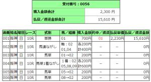 阪神競馬場10レース的中馬券