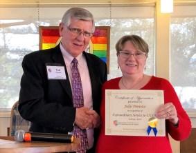 Julie Prentice accepting award