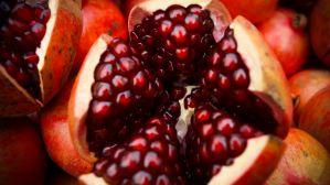 Pomegranate cut in half.