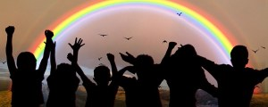 picture of silhouettes and a rainbow