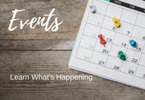 Picture of a calendar with the words Events: Learn What's Happening