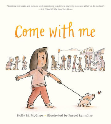 Come with Me book cover with a girl walking a dog and people behind her.