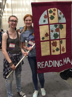 UUCR you Ali and Morgan carry our banner during the opening Parade for General Assembly in 2016.